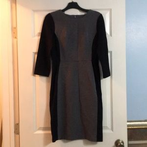 Talbots Size 2 Gray Black Dress 3/4 Sleeves